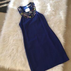 Authentic Trina Turk Blue Beaded Neck Dress